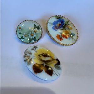 Jewelry - Enamel floral porcelain brooch lot of 3